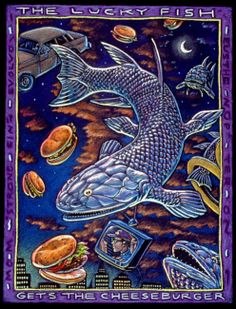 """""""The Lucky Fish Gets the Cheeseburger!"""", mixed media on paper, 22"""" x 30"""", 1993, © Ray Troll"""