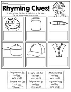 The Moffatt Girls: Spring Math and Literacy Packet (Kindergarten) Rhyming Worksheet, Rhyming Activities, Tracing Worksheets, Matching Worksheets, Printable Worksheets, Phonics Reading, Teaching Reading, Learning, Reading Comprehension