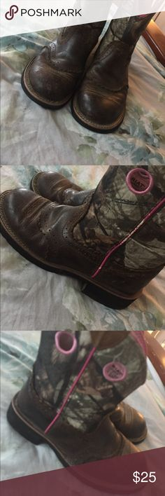 Ariat boots Pink camo cowgirl boots,good to use for really anything.Worn a few times. Ariat Shoes Ankle Boots & Booties