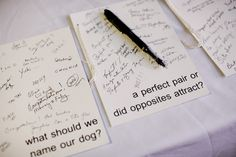 fun thing for guests to do while the wedding party takes pictures ...wedding questionnaires.