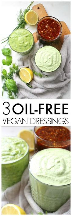 Perfect for salads or marinades, these 3 Oil Free Vegan Dressings are packed full of fresh ingredients and lots of flavor | ThisSavoryVegan.com #vegan #vegandressing