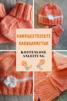 Baby set for a girl knitted with my Addi needles! : This cute, hand knitted baby set is knitted fast. My free, simple guide will guide you step by step to the result. by step Baby Knitting Patterns, Knitting For Kids, Knitting For Beginners, Knitting Designs, Diy Finger Knitting, Hand Knitting, Baby Set, Knitted Baby Clothes, Knitted Hats