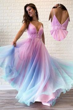 Buy Chic Ombre Spaghetti Straps V Neck Beaded Graduation Gowns, Long Prom Dresses on sale.Shop prom or formal dresses from Promdress. Find all of the latest styles and brands in Junior's prom and formal dresses at PromDress. Ombre Prom Dresses, A Line Prom Dresses, Beautiful Prom Dresses, Cheap Prom Dresses, Ball Dresses, Elegant Dresses, Pretty Dresses, Homecoming Dresses, Ball Gowns