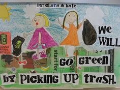 Paint the newspaper green and cut out the words - cute to use with Earth Day!