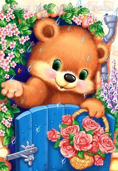 """Photo from album """"Татьяна"""" on Yandex. Teddy Bear Images, Teddy Bear Cartoon, Teddy Bears, Cute Animal Drawings, Cute Drawings, Cute Images, Cute Pictures, Bear Art, Cute Bears"""