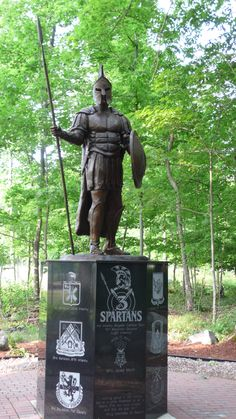 The heroic size bronze spartan was created for the 3th Brigade 10th Mountain Division of the US army by Big Statues.  Create your statue at bigstatues.com