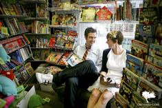 Comic Book Store Engagement Photo When I Get Married, I Got Married, I Wan, Always And Forever, Marry Me, Engagement Shoots, Book Shops, Nerd, Comic Books