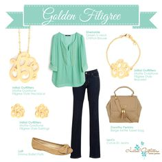 Mint with gold accessories.  Love!