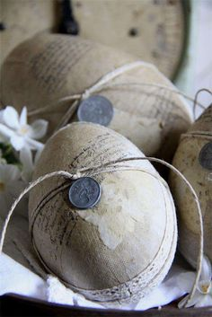 Rustic Easter eggs with old pennies