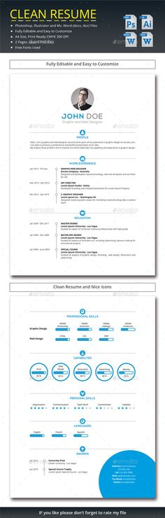 Clean #Resume - Resumes Stationery Download here: https://graphicriver.net/item/clean-resume/11929607?ref=Suz_562geid