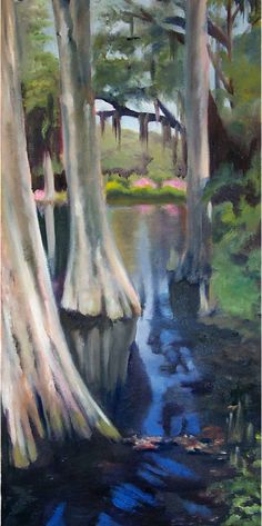 """""""Reflections"""" Swamp by Debbie Daniels  Cypress trees at Magnolia Plantation in Charleston, SC"""