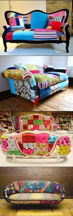 DIY SOFA RENOVATION...talk about inspiring projects for Spring! Just saying...and of course, you can get the funky sofa at your local Goodwill :)