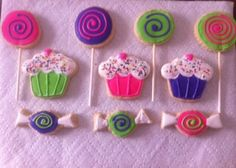 Candy land themed sugar cookies decorated with Royal Icing- One dozen on Etsy, $27.00