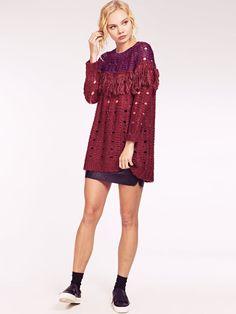 Dahlia Mel Red Sparkly Lurex Long Tunic Jumper with Contrast Tassel Trim Bib Dahlia, Tassels, Jumper, Contrast, Tunic, Classy, Clothing, Red, Dresses