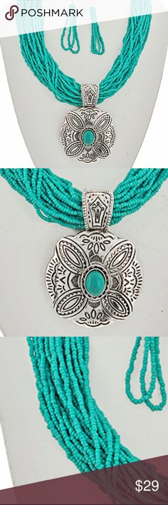 "Turquoise Bead western Theme Pendant Necklace Antique Silver Tone /Turquoise Stone & Glass Seed Beads / Lead&nickel Compliant / Metal / Fish Hook (earrings) / Western Theme / Flower Pendant / Necklace & Earring Set.  •   LENGTH : 18"" + EXT •   PENDANT : 2 3/8"" X 3 1/4"" •   EARRING : 3/4"" X 3 1/8"" •   B.SILVER / TURQUOISE WILD FLOWER Jewelry Necklaces"