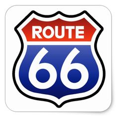 Shop Historic Route 66 Highway Road Sign Square Sticker created by Stark_Raving_Realist.