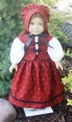 American Girl Pretty Pilgrim Red School Dress by RuthielovestoSew, $38.00