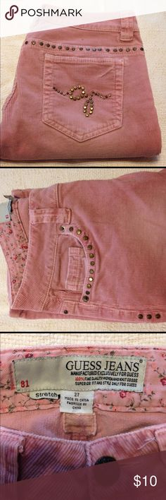 Corduroy Guess jeans. Used a few times and in great condition. They are pink in a corduroy stretch material. GUESS Jeans Boot Cut