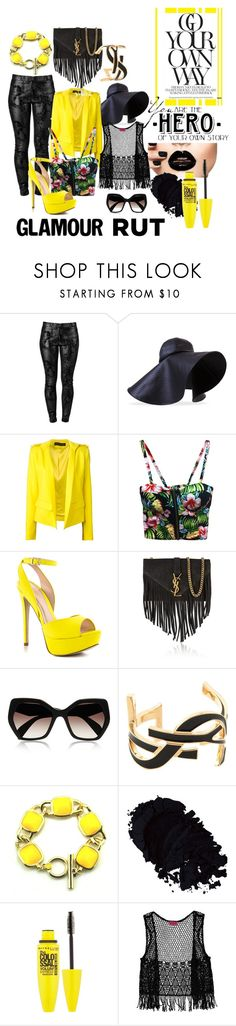 Pastel black by iris234 on Polyvore featuring Alexandre Vauthier, Boohoo, J APOSTROPHE, ALDO, Yves Saint Laurent, J.W. Anderson, Prada and Maybelline