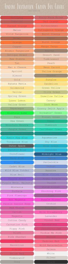 Color Scheme renk isimleri tür çeşit katalog