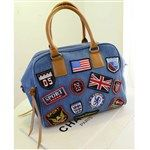 2014 Fashion Casual Denim Badges Patchwork Dual zipper Women's Handbags DTH-331723