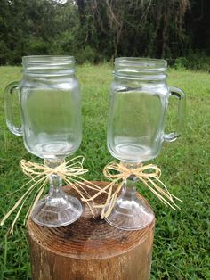 Mason Jar Wine Glass  Set of 2  Country Wedding by CountryBarnBabe, $20.00