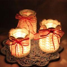 "Folksy :: Buy ""Three Recycled jars Crochet Tea Light Holder's/ pod"" | Craft Juice"