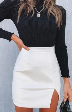 Rosario Split Skirt White PU - Through the history of the world, fashion has continued to develop in conjunction with cultures. Cute Casual Outfits, Girly Outfits, Mode Outfits, Fall Outfits, Summer Outfits, Winter Outfits Korea, Skirt Outfits For Winter, Cute Date Outfits, Glamorous Outfits
