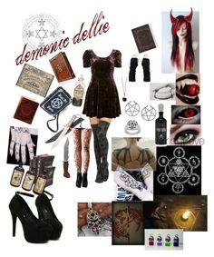 """my creepypasta oc demonic dellie"" by phoebecoffs-1 on Polyvore featuring art"