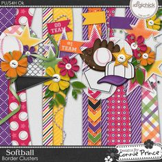 Softball - Border Clusters by Connie Prince. Designed to coordinate with the Softball collection. Includes 4 border clusters. saved in PNG format. Shadows ARE included.  Scrap for hire / others ok.