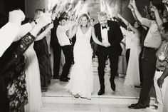 Bride and groom black and white sparkler exit