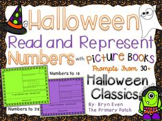Incorporating Literacy into Math lessons for younger learners has never been easier!  Use sentence starters from over 30 classic Halloween picture books to create adorable Halloween Number Booklets. Skills covered: writing the number word, showing the number using tally marks, showing the number in a ten frame, showing the number on a number line, drawing a picture representing the number.