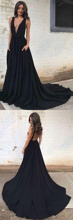 A-Line Deep V-Neck Court Train Sleeveless Backless Black Chiffon Prom Dress,MB 6