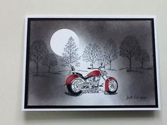 Stampin up motorcycle stamp. I did add 2 more motorcyles too the picture to give it more depth Masculine Birthday Cards, Birthday Cards For Men, Masculine Cards, Male Birthday, Boy Cards, Men's Cards, Hand Stamped Cards, Stamping Up Cards, Fathers Day Cards