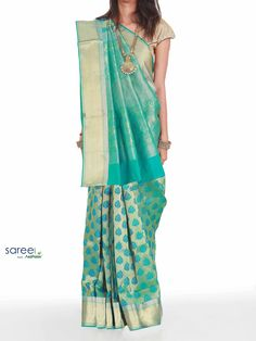 GREEN SOUTH SILK SAREE WITH WEAVING WORK