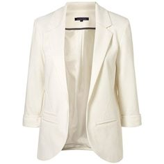 White Boyfriend Ponte Rolled Sleeves Blazer ($34) ❤ liked on Polyvore featuring outerwear, jackets, blazers, blazer, пиджак, boyfriend blazer, ponte jacket, blazer jacket, ponte knit blazer and boyfriend jacket