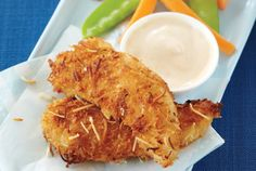 Coconut Chicken Tenders With Mango Yogurt Dip