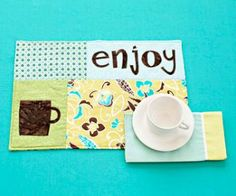 Zigzag-stitch fusible words and motifs to create these fun place mats.