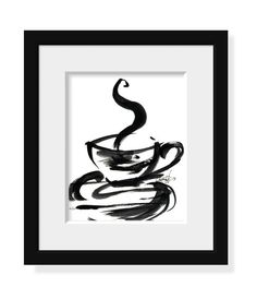 Brushstroke Coffee Cup ... Series No.1 ... Original Abstract Minimalist  Painting by Kathy Morton Stanion EBSQ