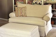 I finished up this slipcover project last week. The furniture was in great . Loveseat Slipcovers, Sofa, Couch, Ottoman Furniture, Herringbone Fabric, Love Seat, Twin, Upholstery, Chairs