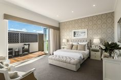 Love this style! The master suite in the San Marino display home, Oran Park, Sydney. #mcdonaldjones #mcdonaldjoneshomes #displayhome #displayhomes #masterbedroom #mastersuite