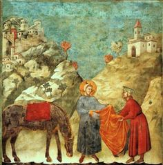 St Francis Giving his Mantle to a Poor Man - Giotto Basilica of San Francesco d'Assisi
