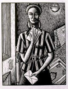 """The Letter"", linocut by Deborah Klein. http://www.deborahklein.net/ Tags: Linocut, Cut, Print, Linoleum, Lino, Carving, Block, Woodcut, Helen Elstone, Australian, Female, Woman, Face, Envelope, Light, Door, Lace, Film Noir."