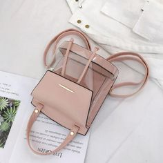 Pink Flap Vegan Leather and PVC Clear Backpacks Transparent Bags Fashion Handbags, Purses And Handbags, Fashion Bags, Stylish Backpacks, Clear Backpacks, Girl Backpacks, Trendy Purses, Transparent Bag, Girls Bags