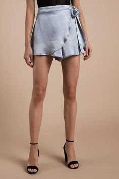 Looking for the Vivian Dusty Blue Satin Skort? | Find Womens Shorts and more at Tobi! - 50% Off Your First Order - Fast & Free Shipping For Orders over $50 - Free Returns within 30 days!