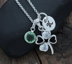 Four leaf Necklace SHAMROCK Personalized by LifeOfSilver on Etsy