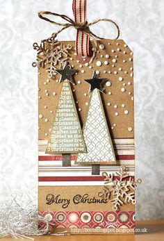 #Christmas #holiday #tag of Kraft, green, white and red with Christmas trees, stars and snowflakes