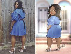 Big, Bold, and Beautiful: Brazilian Artist Turns Plus-Size Ladies Into Amazing Cartoons! Black Girl Art, Black Women Art, Art Girl, Disney Princess Fashion, Plus Size Art, Black Art Pictures, Black Artwork, Woman Illustration, Girl Sketch