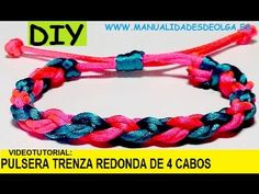 ▶ COMO HACER UNA PULSERA TRENZADA REDONDA DE CUATRO CABOS. TRENZA 4 HILOS. TUTORIAL DIY. - YouTube