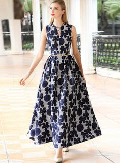 Shop for high quality Vintage Floral Print Skinny V-neck Maxi Dress online at cheap prices and discover fashion at Ezpopsy.com